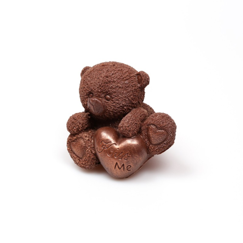 Шоколадный тедди средний с сердцем